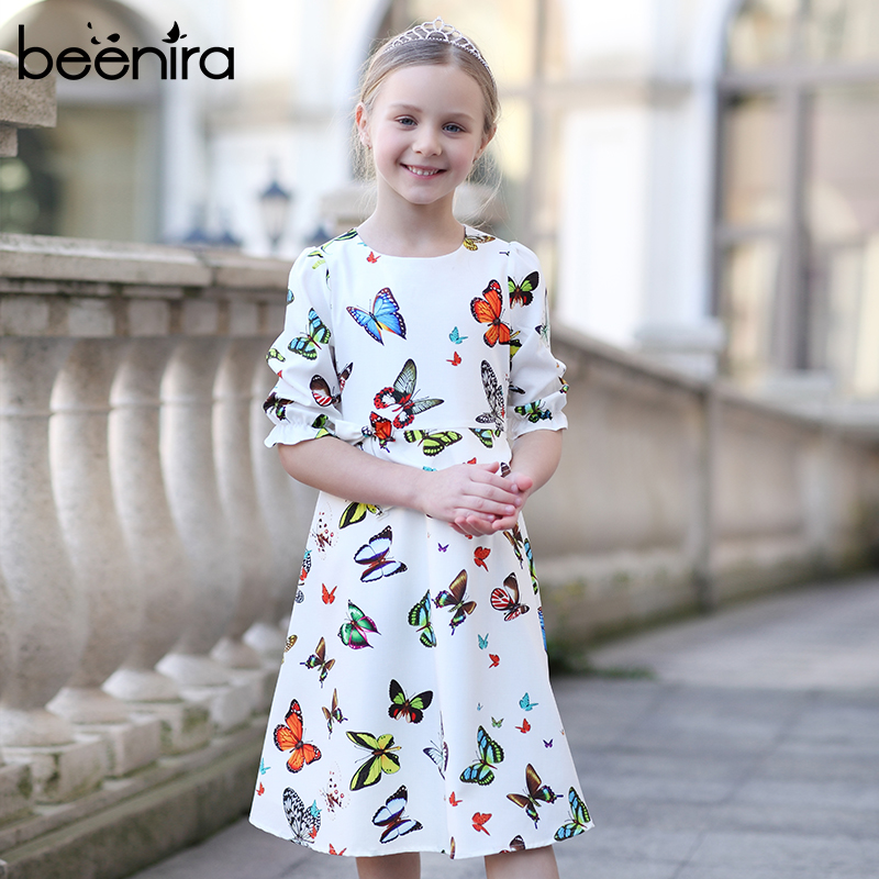 Beenira Children Autumn Dresses 2019 New European And American Style Kids Half-Sleeve Butterfly Pattern Princess Dress For 4-12Y
