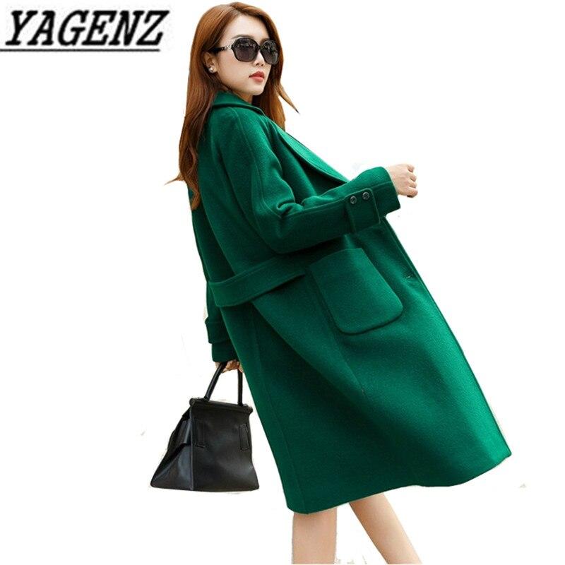 2019 jesień/zima kobiet wiatrówka wełniany kurtki koreański luźne BF długi płaszcz duży rozmiar ciepłe kobiece płaszcze z wełny 4XL w Wełna i mieszanki od Odzież damska na  Grupa 1
