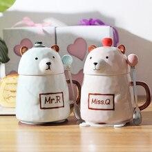 400ml Creative Cute Cartoon Bear Ceramic Couple mug With Cover Spoon Big Capacity Milk Coffee Office Drinks mug Free shipping