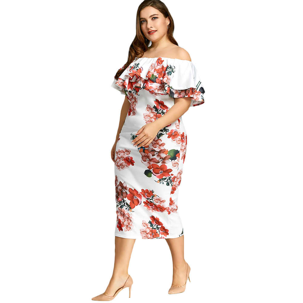 ... Gamiss Casual Ladies Elegant Bodycon Dress Plus Size 5XL Floral Print  Ruffle Dress Off The Shoulder ... dfb658a9fa40