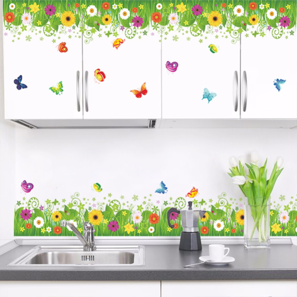 Green Flowers And Grass Wall Stickers Corridor Decoration Butterfly