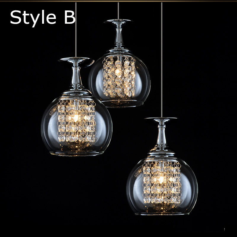 free shipping 3 lights dining room glass pendant light tready wine cup crystal pendant lamp led lamps Bar kitchen glass light  mamei free shipping 3 lights crystal led pendant light fixtures for dinner room kitchen island led included