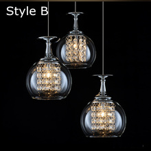 Envío gratis 3 luces comedor colgante cristal tready taza de vino lámpara colgante cristal led Bar lámparas de cristal de la cocina luz