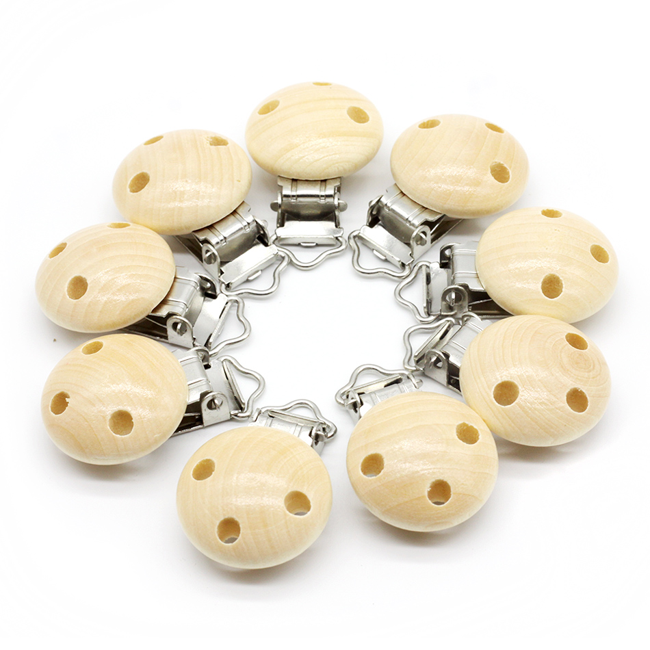 10pcs Wooden Teether Dummy Clip (2.9*4.6 cm) Baby Nursing Accessories DIY Pacifier Holder Can Chew Clips Baby Teether
