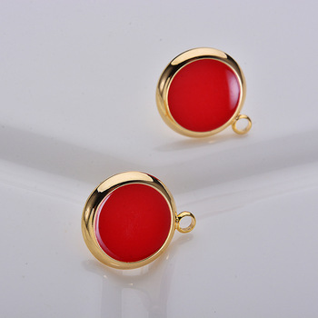 (103)6PCS 11x14MM 24K Gold Color Plated Brass Red Oil Round Stud Earrings High Quality DIY Jewelry Making Findings
