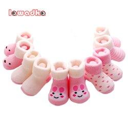 5Pairs/lot Infant Baby Boy Socks Cartoon Striped Baby Girl Socks Newborn Winter Warm Terry Socks for Newborns Baby Accessories