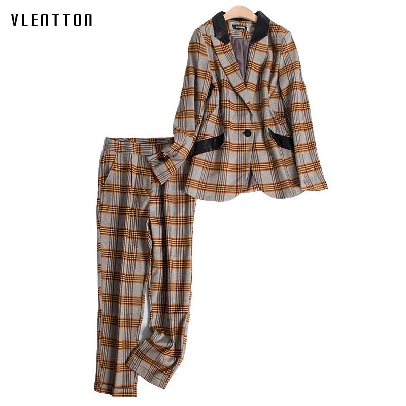 Spring Autumn Vintage Women's Pant Suits Single Button Long Sleeve Office Blazer Coat+Pencil Pants Sets Plaid 2 Piece Set Women