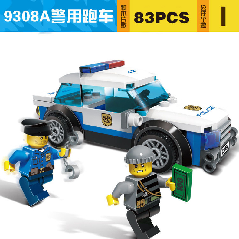 9308A GUDI City Series 83Pcs Police Cared Man Cops Vehicle Diy Educational Bricks Building Block Kids Toy Compatible With Legoe