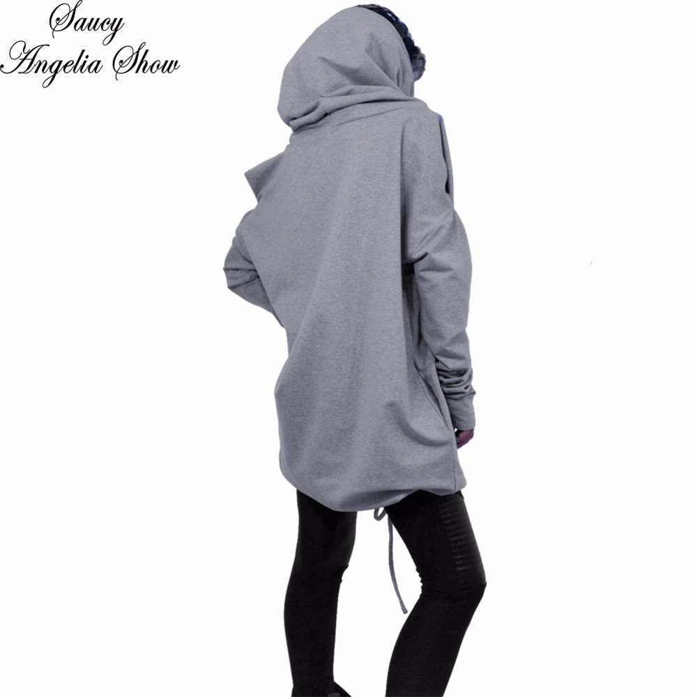 SAUCY ANGELIA Women Hoodies Lace Up Hooded Long Sleeve Coat Kpop Winter Sweatshirt Femme Cropped Casual Outfits Fall 2018 XXL