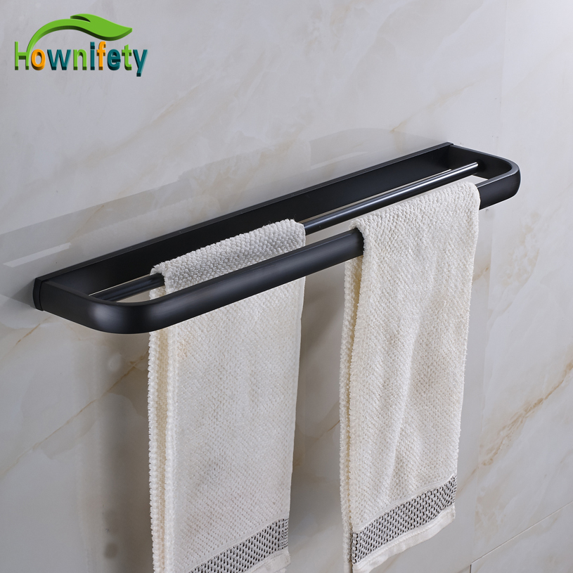 High Quality Solid Brass Oil Rubbed Bronze Bath Dual Towel Bar Towel Hanger Wall Mount free ship beauty oil rubbed bronze bath towel rings soild brass towel bracket