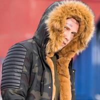 YIHUAHOO Winter Jacket Men Thick Long Warm Parka Coat Cotton Casual Fur Hooded Male Camouflage Military Jacket Windbreaker Men
