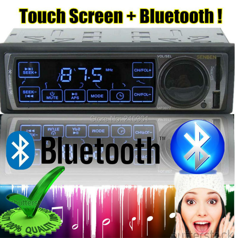 2015 new 1 DIN 12V Car Stereo FM car Radio bluetooth MP3 Audio Player touch screen control USB/SD MMC Port bluetooth In-Dash image