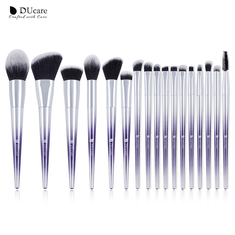 DUcare 17pcs New Makeup Brushes Set Powder Foundation Eye Shadow Blush Eyebrow Makeup Brushes Cosmetic Make up Brushes professional make up 144 color eye shadow 3 color blush 3 color eyebrow powder makeup set box