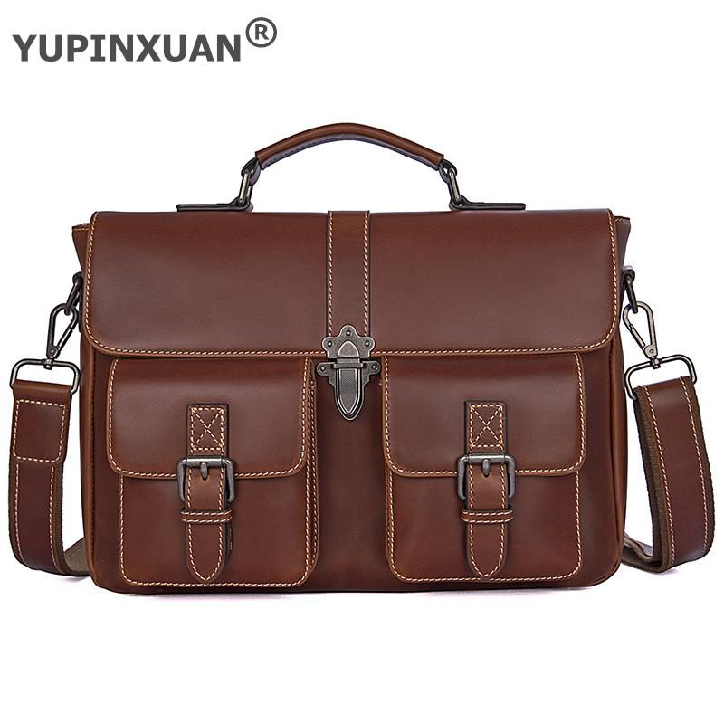 YUPINXUAN Luxury Unisex Cow Leather Handbags Office Ladies Briefcases Men Hand Bags Ipad Pro Fit Crazy Horse Leather Work Bags yupinxuan dark brown crazy horse leather handbags men first layer cow leather messenger bags high capacity leather shoulder bags