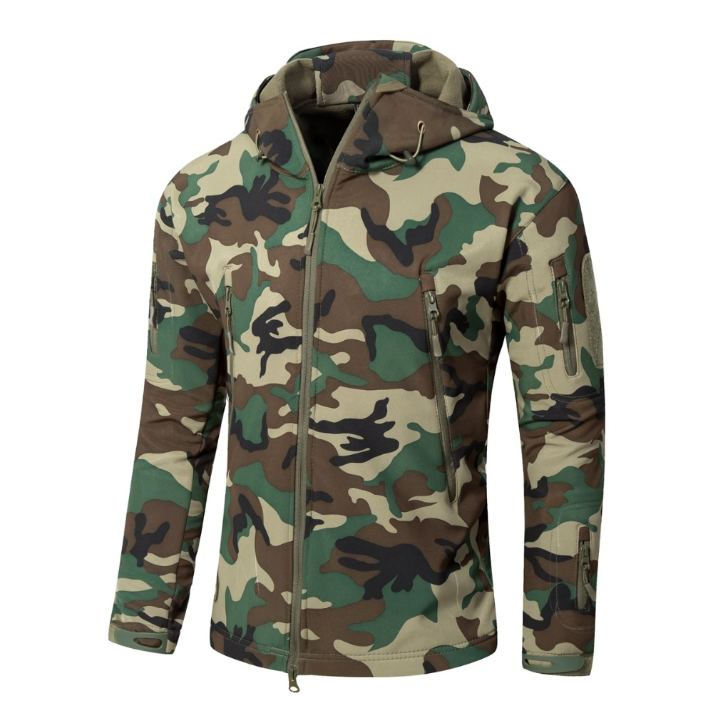 XS-5XL 145cm Bust V5.0 Tactical Outdoor Shark Skin Softshell Men Hunting Hooded Camouflage Jacket Women Camping Climbing Coat