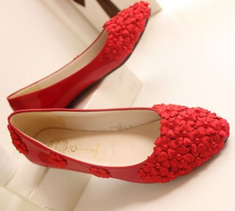 ФОТО Red lace flats shoes for woman 100% real photos handmade pearls bridal wedding bridesmaid party dance flats shoes TG249 sales
