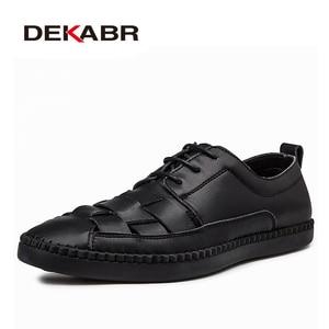 Image 5 - Мужские туфли оксфорды с вырезами DEKABR, бежевая повседневная классическая обувь из натуральной кожи, на шнуровке и плоской подошве, большие размеры 38 47, лето осень 2019