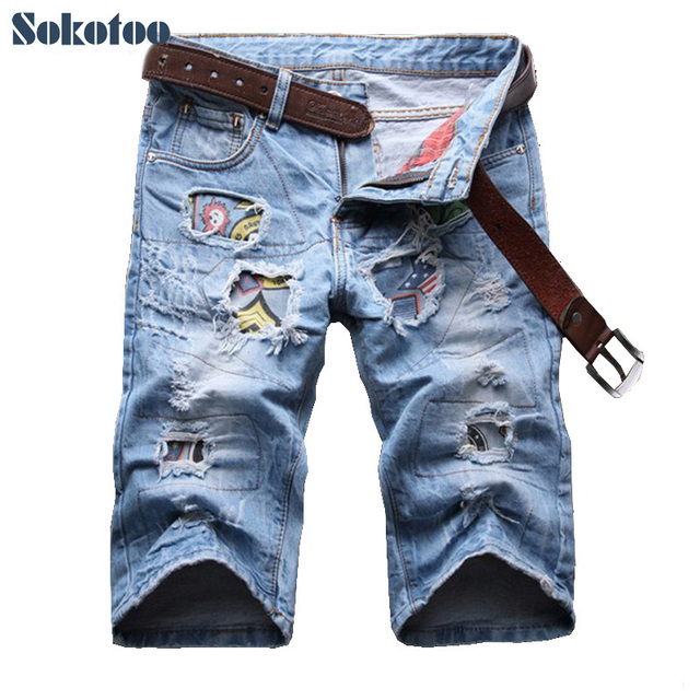 Aliexpress.com : Buy Sokotoo Men's summer casual patch holes ...