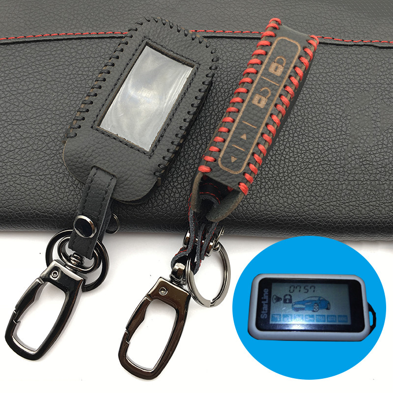 For Russian Version 2-way Car Wholesale Starline Alarm E90 E91 E60 E61 E62 Fob Remote Key Switch High Quality Leather Key Case atobabi e60 e90 leather key fob cover cases for starline e60 e90 e63 e93 e95 e66 e96 lcd remote controller keychain transmitter