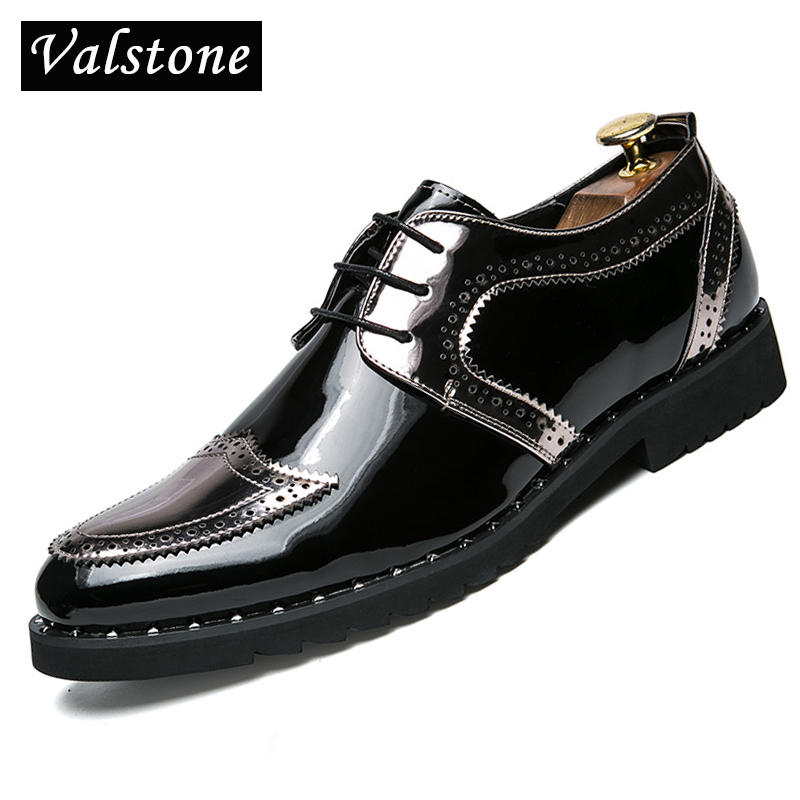 Valstone Men s Casual Leather Shoes Rubber sneakers Men British Brogues Gold oxford shoes Mocassins loafers