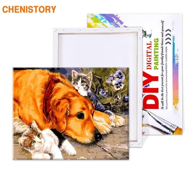 Набор для рисования по номерам на холсте собаки и кошки 40 х50