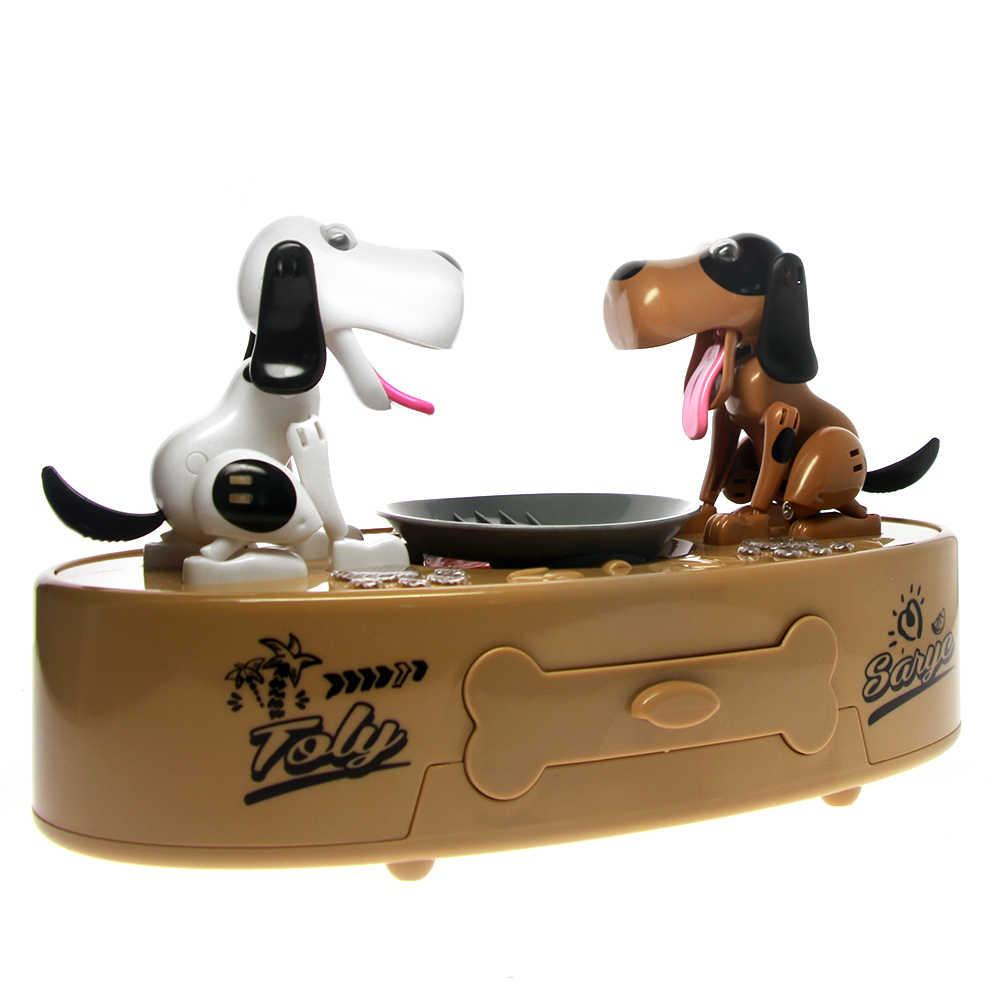 Brinquedos gêmeos doggy banco fome gananciosos cães dinheiro pote choken bako filhotes mealheiro crianças caixa de moedas amantes do cão presente