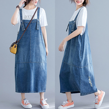 #0406 Overalls Suspender Denim Dress Women Loose Plus Size Backless Spaghetti Strap Jeans Female Vestidos Casual Summer