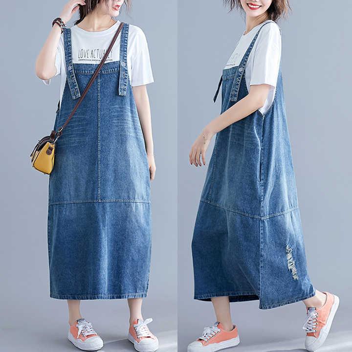#0406 комбинезон на бретелях джинсовое платье женское свободное Плюс Размер без спинки Спагетти ремень джинсовое платье Женское Vestidos повседневное летнее