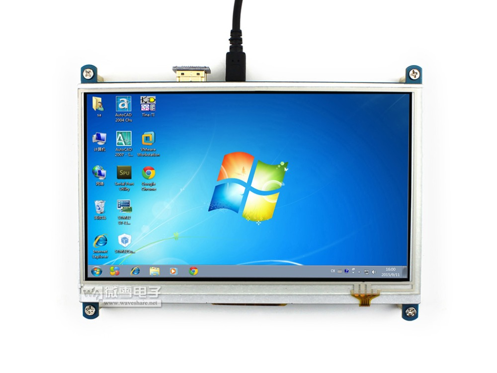 Waveshare 7inch HDMI LCD 1024 * 600 Resistive Touch Screen LCD Display,HDMI interface, for Raspberry Pi module waveshare lcd cape 7inch expansion board for beaglebone black board supports 7inch resistive touchscreen lcd