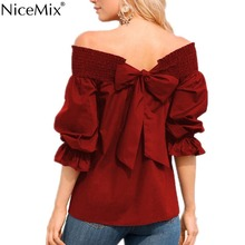 NiceMix 2019 Summer Women Blouses Sexy Off Shoulder Tops Back Bow Lacing Casual Loose Blusas Shirt Ladies Femme
