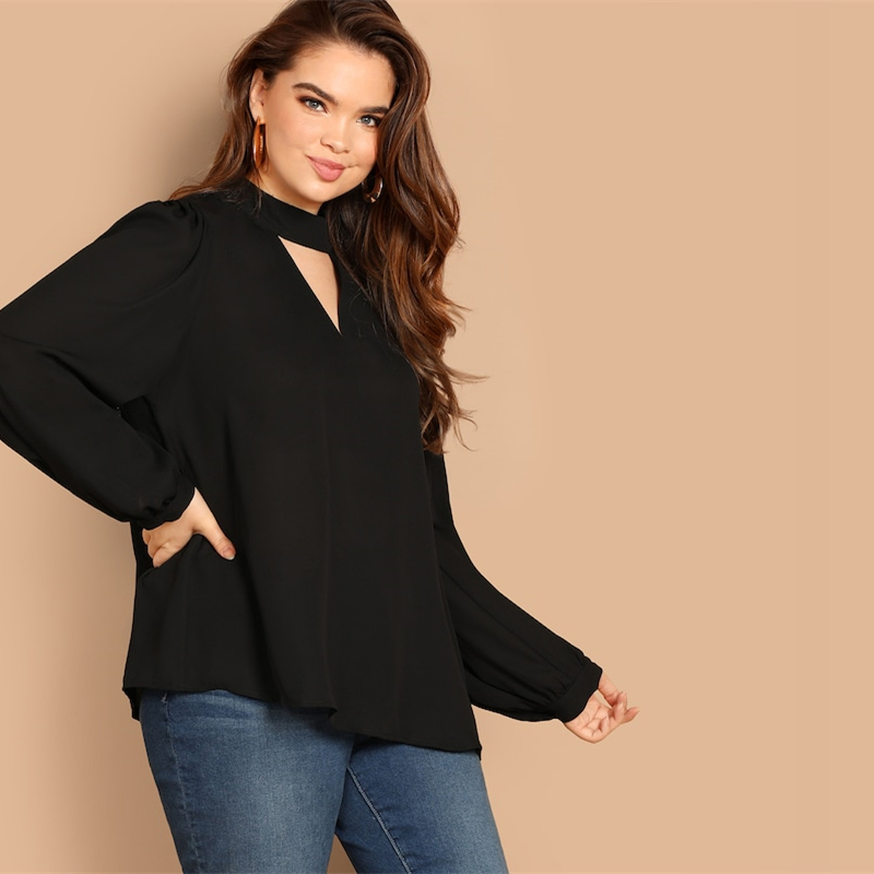Plus Size Keyhole Mock-neck Long Lantern Sleeve Stand Collar Cut Out Women Blouse