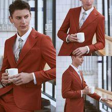 Simple Orange Mens Suits Blazer 2PCS Tuxedos Business Groom 34-56W Custom