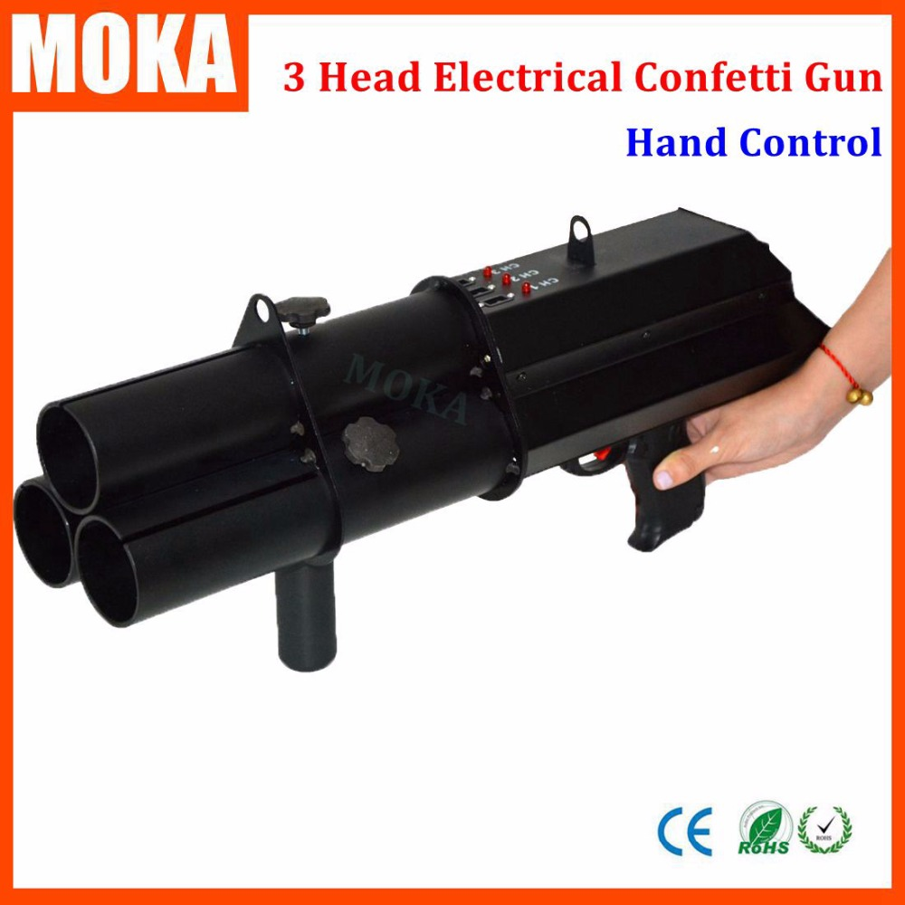 1 Pcs 3 head confetti gun Trigger Electric confetti cannon confetti fx shooter hand control wedding