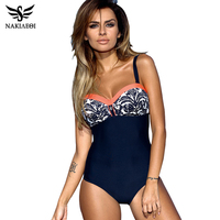 NAKIAEOI 2017 One Piece Swimsuit Plus Size Swimwear Women Push Up Swimwear Print Patchwork Vintage Retro