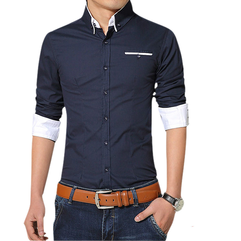 Desain t shirt kerah - Kualitas Plus Ukuran Mens Kemeja Lengan Panjang Kerah Kemeja Kasual Pria Slim Fit Merek Desain Formal