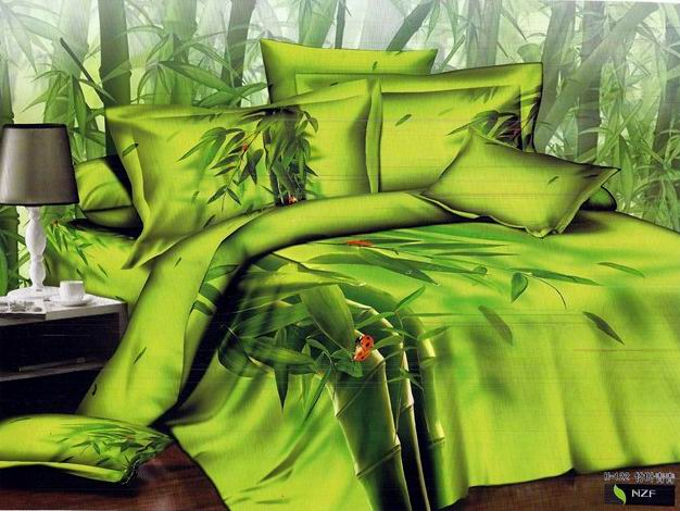 3d Yellow Green Bamboo Print Bedding Set Queen Size