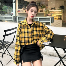Shirts Women Oversize Single Breasted Plaid Lantern Sleeve W