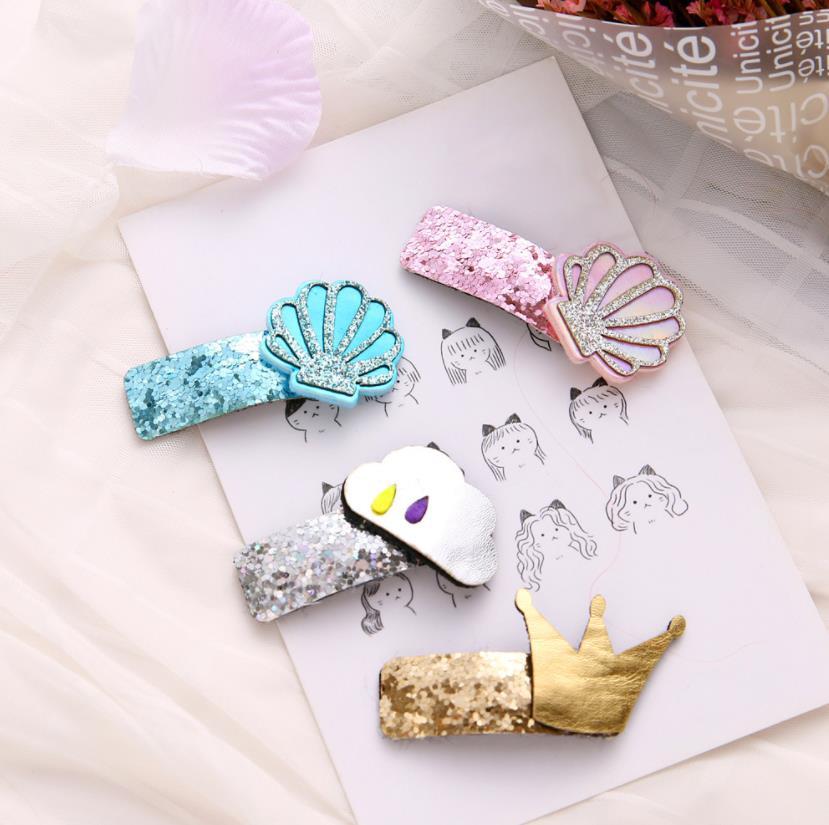 4pcs New Glittering kids PU crown BB hair Clips Girls Hairpins barrette Kids Headwear Children  Fashion Accessories J87