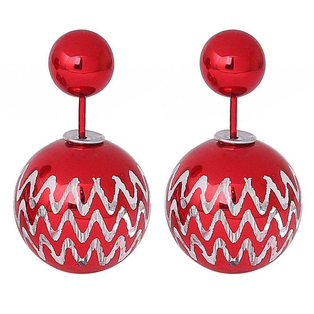 8seasons New Fashion Lady Christmas Ear Studs Ccb Plastic Earrings Post  Round Red Ripple Pattern 25mm