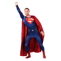 Hot Sale Man of Steel Superman Cosplay Costume Superhero Zentai Bodysuit Suit Jumpsuits for Adult/Kids with cape