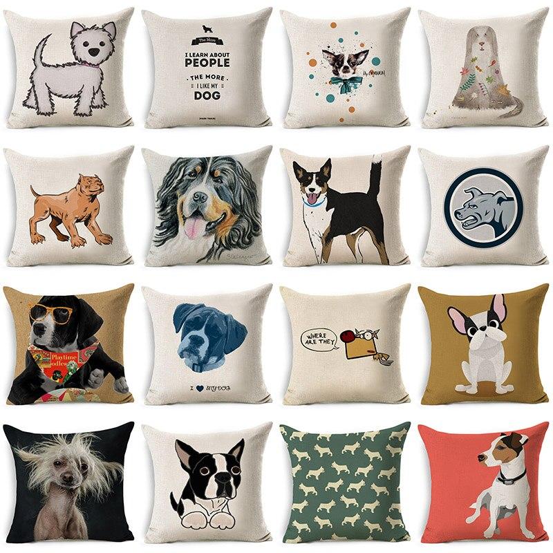 Lovely Funny Cartoon Dog Pillowcase Cotton Linen Cushion Decorative Pillows Use For Home Sofa Car Office Almofadas Cojines