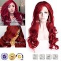 Рыжие волосы слоистой стрижки рыжие волосы синтетический парик фронта шнурка красный мода kanekalon волосы rihanna красный вьющихся волос