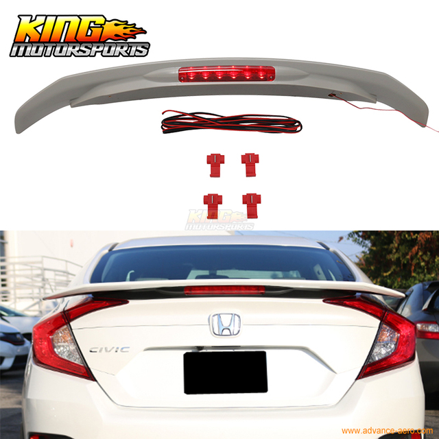 For 2016 2017 Honda Civic X 10th JDM RS Style ABS Trunk Spoiler With 3RD