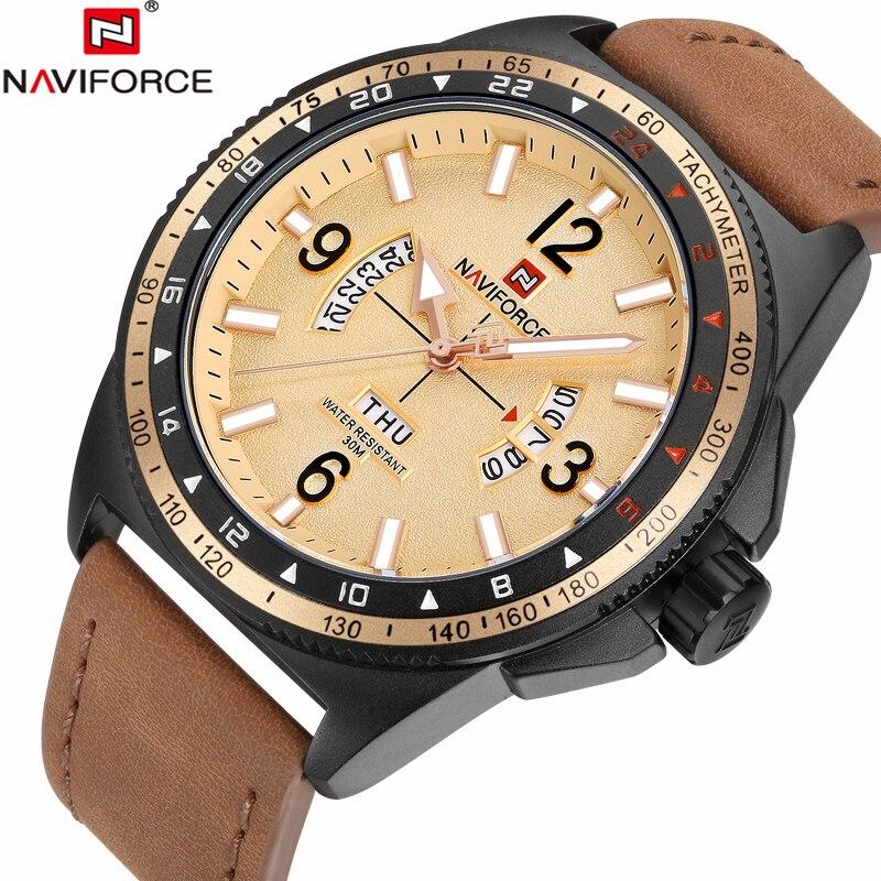2017 Naviforce Uhr Männer Mode Lässig Quarz Armbanduhren Datum Woche Zurück Licht Herrenuhren Wasserdichte Uhr Relogio Masculino