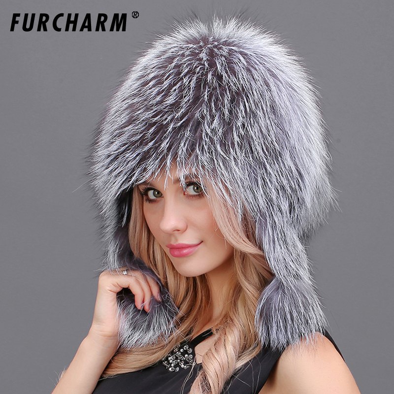 Winter Fur Hats for Women Real Fox Fur Cap with Fur Pom Poms Ear Protect Warm Winter Bomer Hat Brand New Fur Hats with Ears