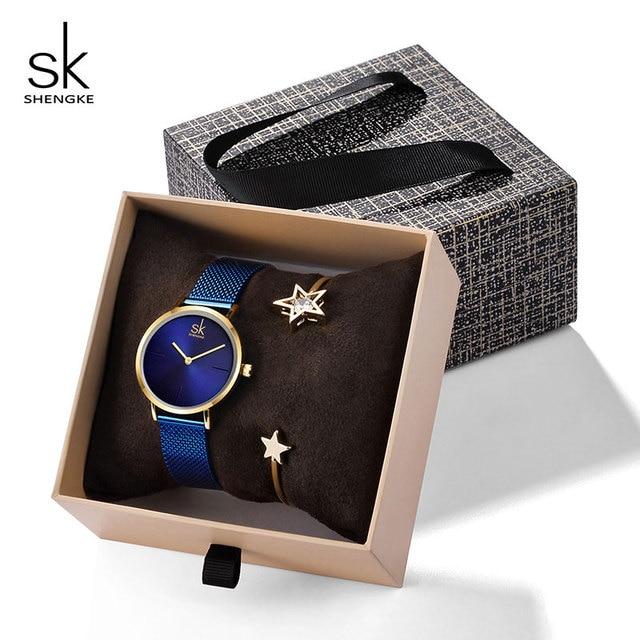 Shengke Women Bracelet Watches Set 2019 New Ladies Fashion Steel Quartz Watch wi
