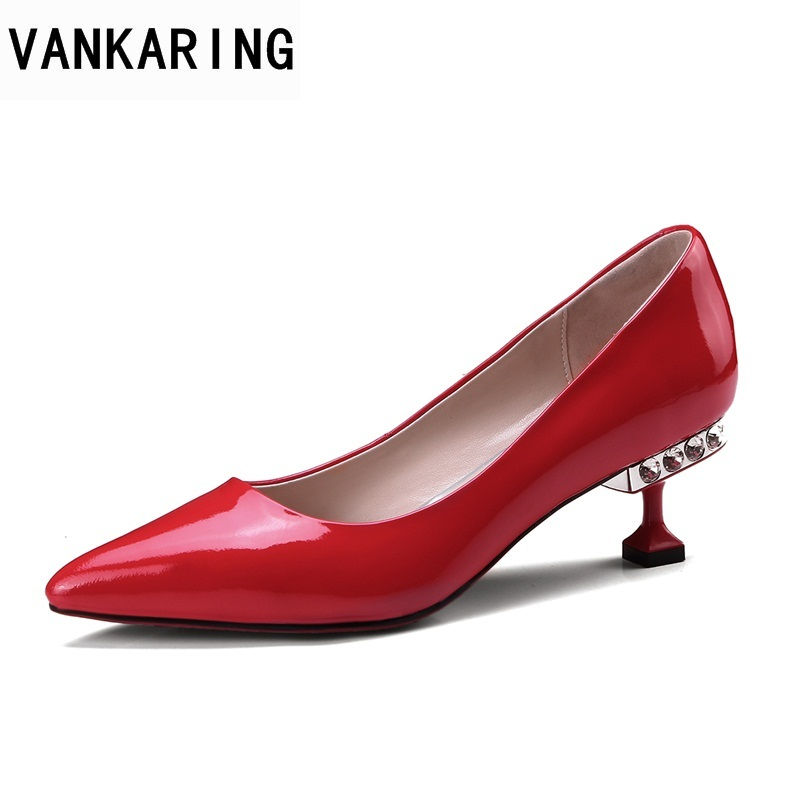 VANKARING women pumps shoes fashion med heels pointed toe shoes new 2018 brand designer woman dress party wedding shoes pump shofoo newest women shoes med heels pointed toe pumps for woman dress