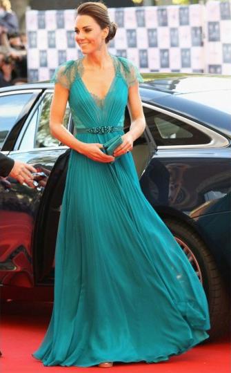 Partido de la recién llegado envío gratuito caliente de la venta 2014 Kate Middleton Celebrity v-cuello de la gasa vestido inspirado Cle-157a Raindele