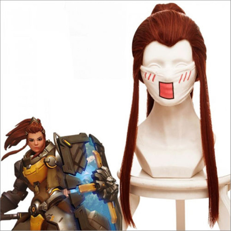 Anime Game Over Watch OW DVA Brigitte Wig Red Brown Cauda Long Wig Cosplay Costume Women Long Horsetail Hair Cosplay Wigs 50cm