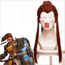 Anime juego ver ¡DVA Brigitte peluca rojo marrón Cauda larga peluca Cosplay traje de las mujeres Larga Cola de Caballo Cosplay del pelo pelucas 50cm